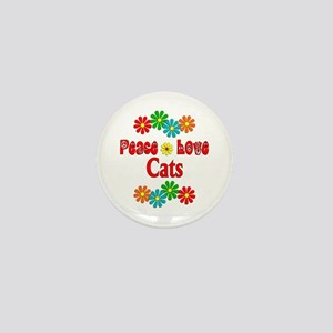 Peace Love Cats Mini Button