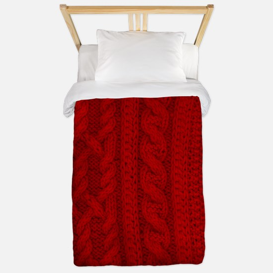 Wool red cable stitches Twin Duvet