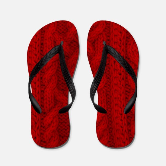Wool red cable stitches Flip Flops