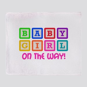 BABY GIRL ON THE WAY Throw Blanket