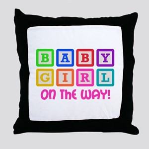 BABY GIRL ON THE WAY Throw Pillow