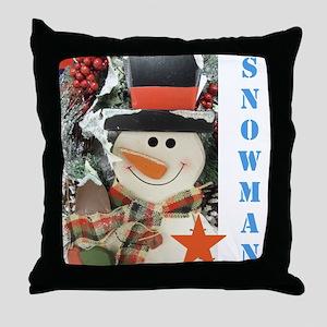 Snowman Star. Throw Pillow
