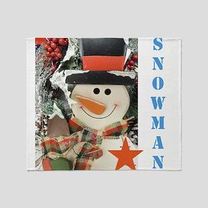Snowman Star. Throw Blanket