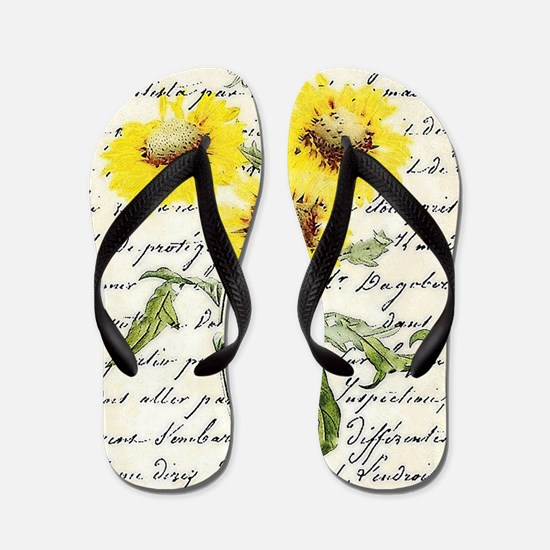 Sunflowers and text Flip Flops