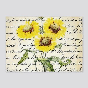 Sunflowers and text 5'x7'Area Rug