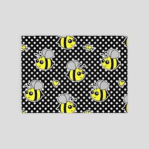 Cute Bumble Bee Pattern Polka Dot 5'x7'Area Rug