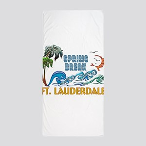 3D Palms Waves Sunset Spring Break FT Beach Towel