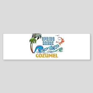 3D Palms Waves Sunset Spring Break Bumper Sticker