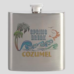3D Palms Waves Sunset Spring Break COZUMEL Flask