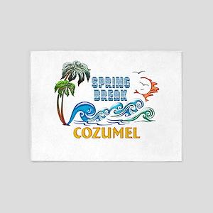 3D Palms Waves Sunset Spring Break 5'x7'Area Rug