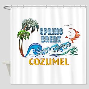 3D Palms Waves Sunset Spring Break Shower Curtain