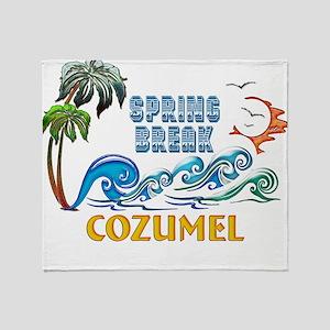 3D Palms Waves Sunset Spring Break C Throw Blanket