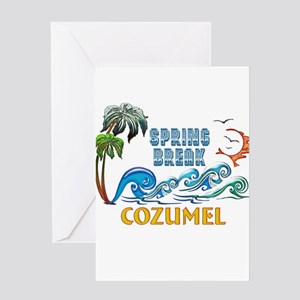 3D Palms Waves Sunset Spring Break Greeting Cards