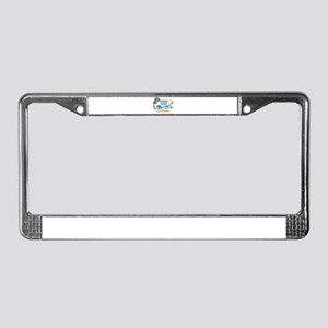 3D Palms Waves Sunset Spring B License Plate Frame