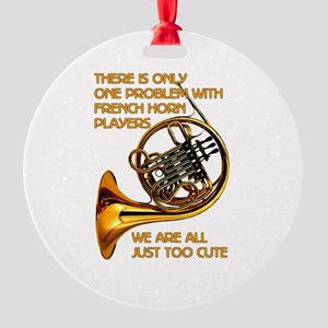 French Horn Cutie Round Ornament