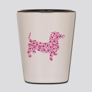 Valentine Dachshund Hearts Shot Glass