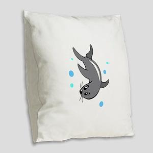 SWIMMING SEAL Burlap Throw Pillow