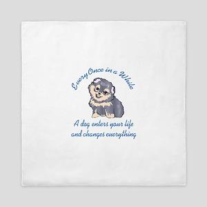 A DOG ENTERS YOUR LIFE Queen Duvet