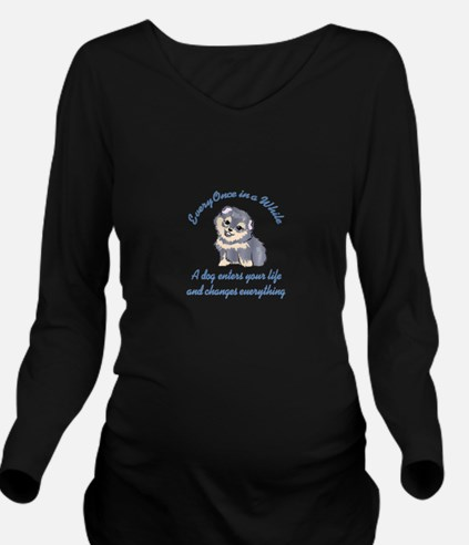 A DOG ENTERS YOUR LIFE Long Sleeve Maternity T-Shi