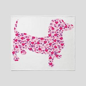 Valentine Dachshund Hearts Throw Blanket