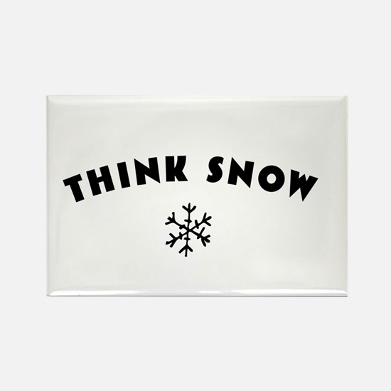 Think Snow Rectangle Magnet