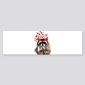 Raccoon Blowing Kisses Cute Animal Love Bumper Sti