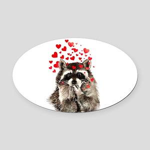 Raccoon Blowing Kisses Cute Animal Love Oval Car M