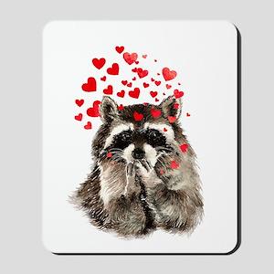 Raccoon Blowing Kisses Cute Animal Love Mousepad