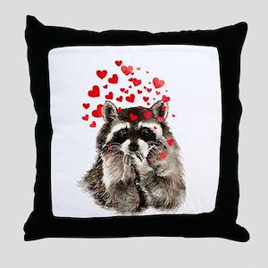 Raccoon Blowing Kisses Cute Animal Love Throw Pill