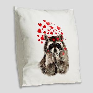 Raccoon Blowing Kisses Cute Animal Love Burlap Thr