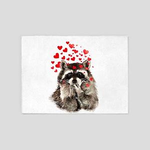Raccoon Blowing Kisses Cute Animal Love 5'x7'Area