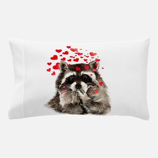 Raccoon Blowing Kisses Cute Animal Love Pillow Cas