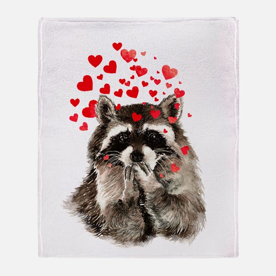 Raccoon Blowing Kisses Cute Animal Throw Blanket