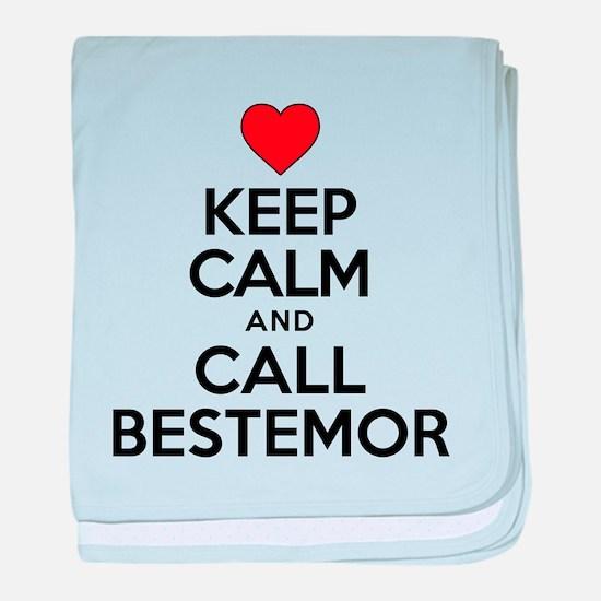 Keep Calm Call Bestemor baby blanket