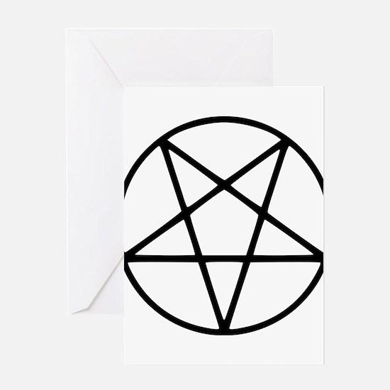 black white pentagram star Greeting Cards