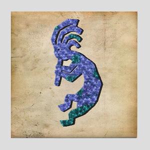 Blue Kokopelli Tile Coaster