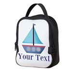 Customizable Blue Sailboat Neoprene Lunch Bag
