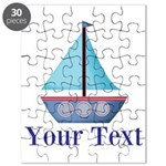 Customizable Blue Sailboat Puzzle