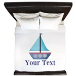 Customizable Blue Sailboat King Duvet
