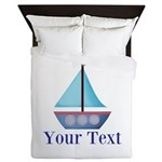Customizable Blue Sailboat Queen Duvet