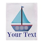 Customizable Blue Sailboat Throw Blanket