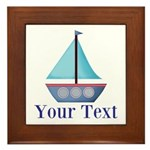 Customizable Blue Sailboat Framed Tile