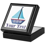 Customizable Blue Sailboat Keepsake Box