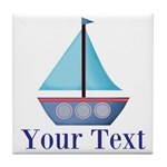 Customizable Blue Sailboat Tile Coaster