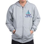 Customizable Blue Sailboat Zip Hoodie