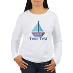 Customizable Blue Sailboat Long Sleeve T-Shirt