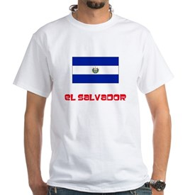 El Salvador Flag Retro Red Design T-Shirt