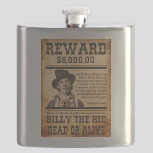 NOSTALGIC BILLY THE KID WANTED POSTER Flask