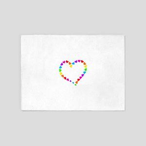 valentines day retro rainbow hearts 5'x7'Area Rug
