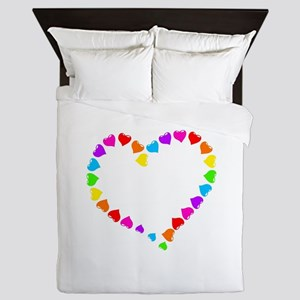 valentines day retro rainbow hearts sh Queen Duvet